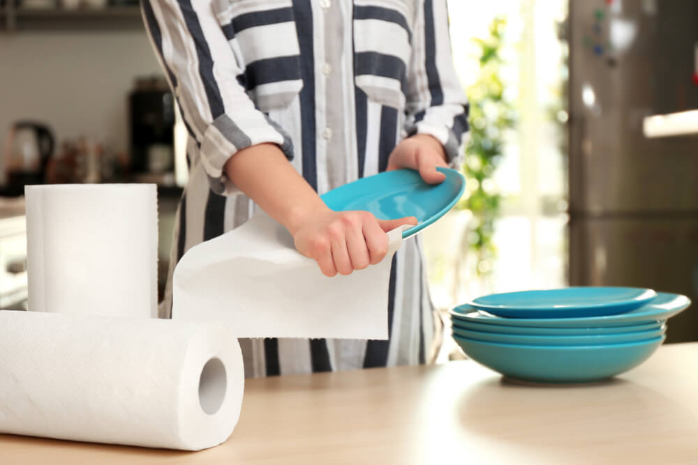 Avoid using paper towels and go for the reusable variety to save money